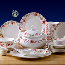 56 Jingdezhen bone china tableware suit is suitable for microwave dishes Chinese dishes housewarming gifts