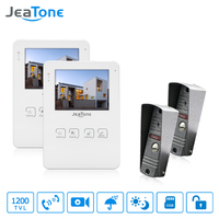 JeaTone 4 Wired Video Doorbell Door Phone Intercom System Support Recording And Photo Taking 1200TVL IR