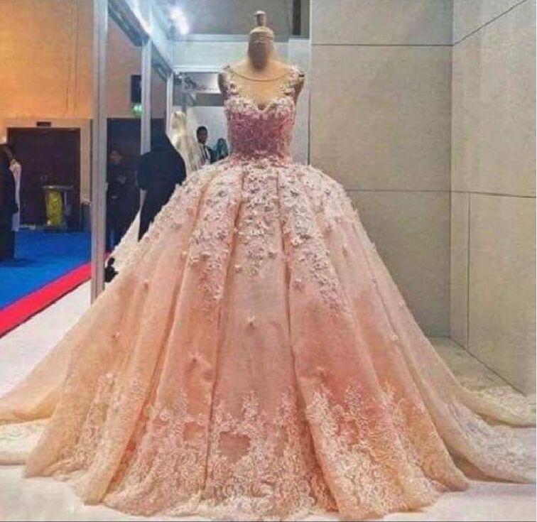 Popular Big Pink Wedding Dress