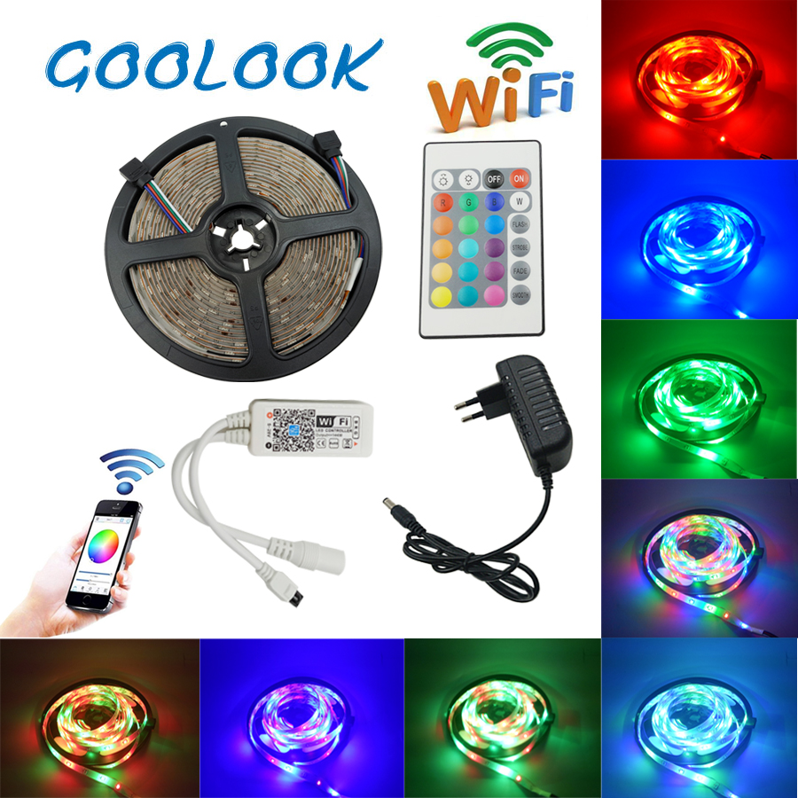 SMD 5M 10M 2835 Kitchen living room light Ribbon LED light Tape RGB LED lighting With IR WIFI Controller LED strip Power supply good group diy kit led display include p8 smd3in1 30pcs led modules 1 pcs rgb led controller 4 pcs led power supply