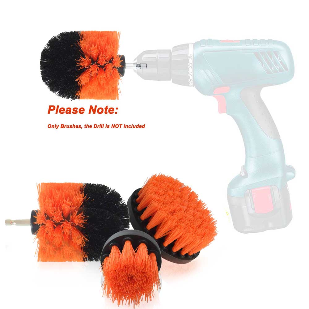 SITAILE 3Pcs Car Tire Electric Drill Brush Car Cleaning Brush for Wheel Hub Detailing Brush Quick Change Shaft Auto Cleaning Kit