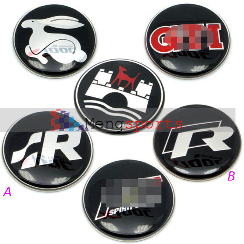 40pcs 45mm Steering Wheel Center Sticker Rline Wolfsburg Rabbit Car Styling Embelm Badges Airmail free