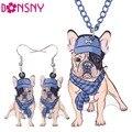 Bonsny Brand Jewelry Sets Acrylic Statement French Bulldog Pug Dog Necklace Earrings Choker Collar Fashion Jewelry Women Girl