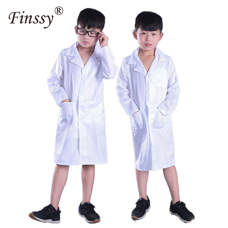 White Doctor Nurse Scientist Laboratory Long Sleeve Thin Coat Very Beautiful Costume Gift For Kids Halloween Cosplay Costumes