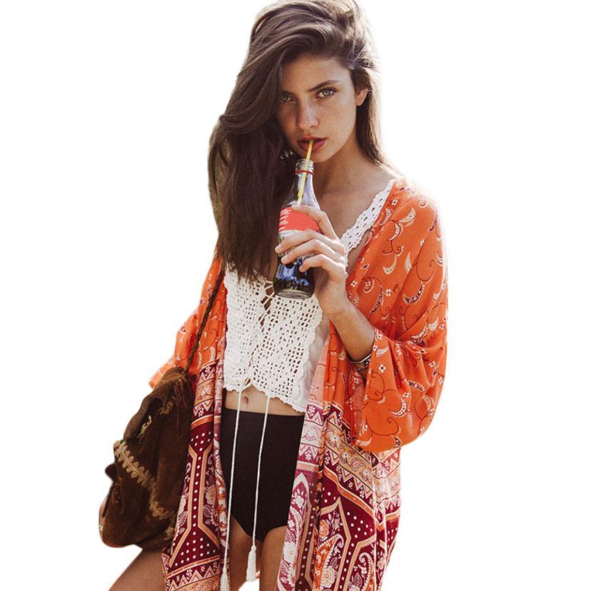Marquage à chaud Femmes Boho National Imprimé En Mousseline de Soie Châle  Kimono Cardigan Tops Cover up Blouse M31 Drop Shipping 31e493bb3aa