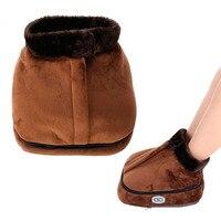 Electric Heated Foot care Warmer tool pad Cosy Unisex Velvet Feet Warmer Massager Big Slipper Foot Heat Warm Massage Shoes