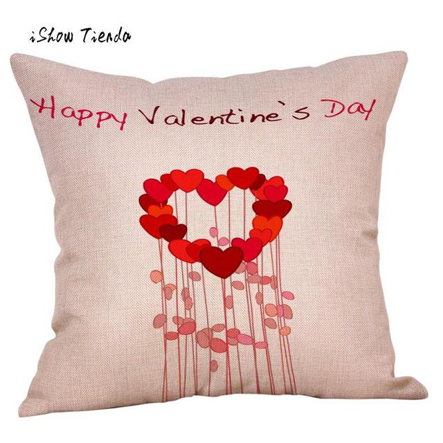 faa08c5e67c Happy Valentine s Day Pillow Cover Sweet Heart Printing Throw Pillow Case  Romantic Sweet Love Square Cushion