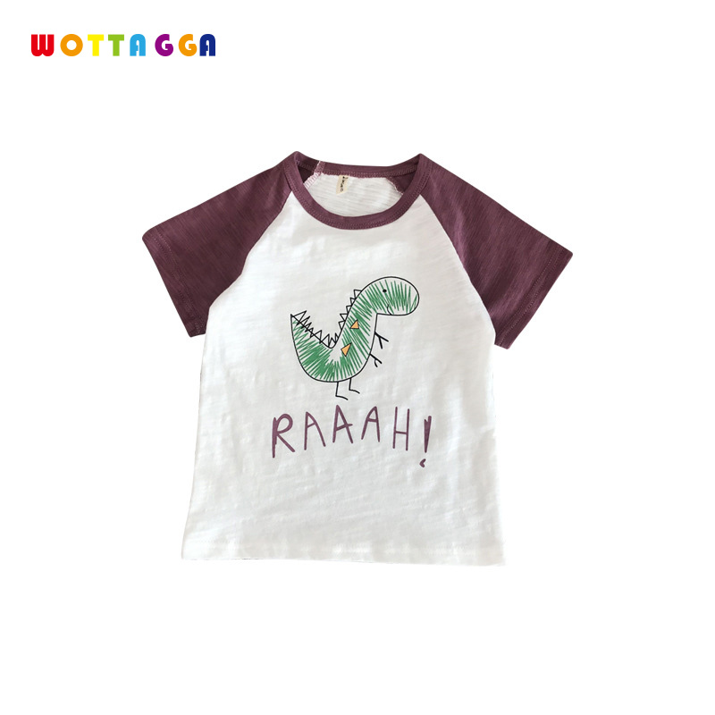 WOTTAGGA 2019 Summer Boys Shirts Cotton Children T shirts Colored Tops for Boys Short Sleeve Kids Blouse Toddler Tees Baby Cloth in T Shirts from Mother Kids