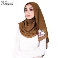 BOHOWAII Turban Hijab Muslim Islamic Scarf Scarves for Woman Chiffon Turbante Handmade Custom Diamond Flowers Prayer Hijabs