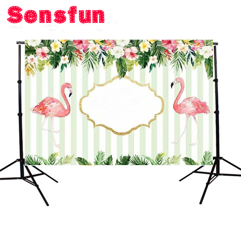 Floral Flamingo Photo Backgrounds Customized Birthday Photographic Backdrops For Photo Studio 7x5ft