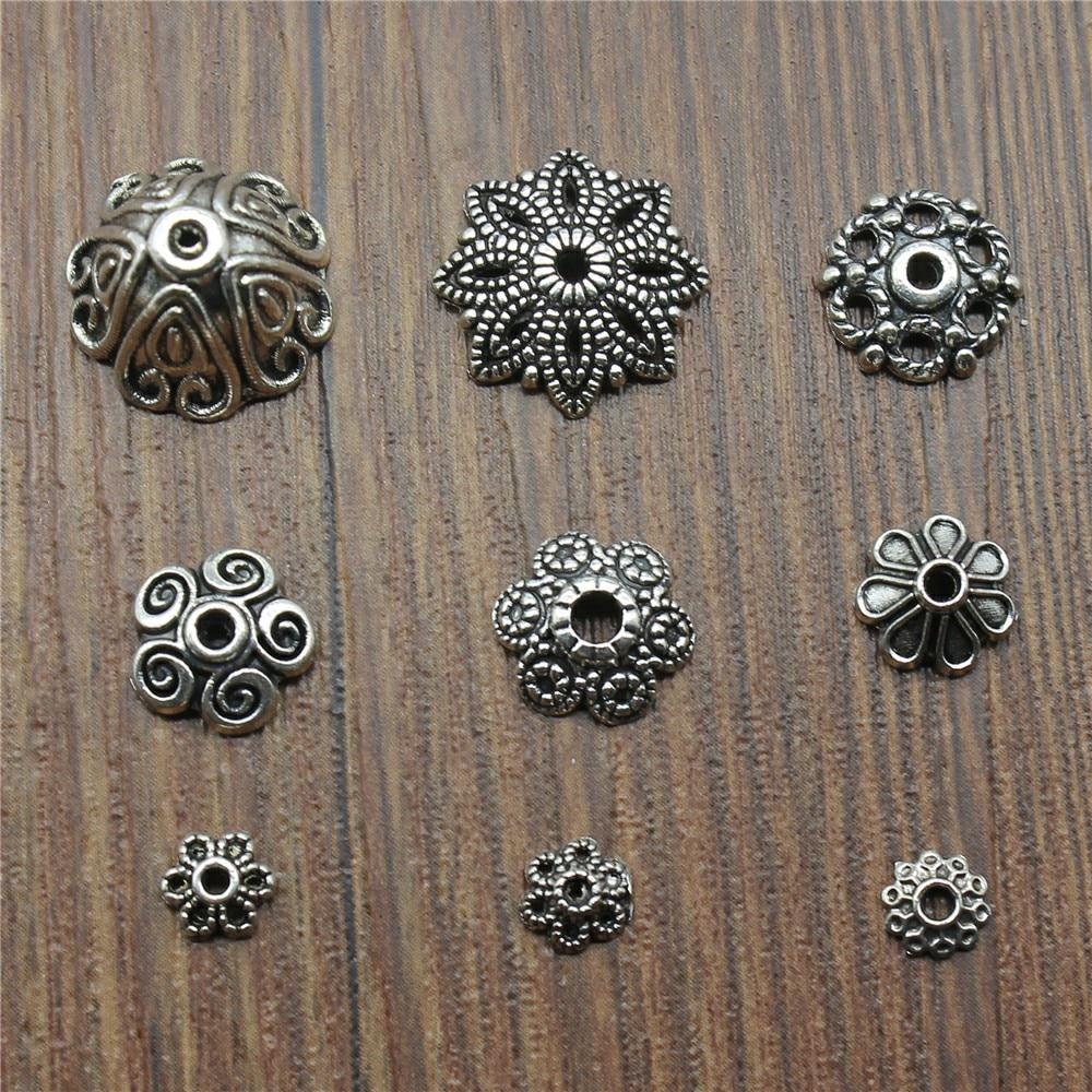 50pcs/lot Bead Caps Charms Pendant Antique Silver Color Bead Caps Charm Pendants Jewelry Accessories Diy Receptacle Charms