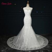 Amdml Korean Appliques Beaded Sequined Mermaid Wedding Dresses 2017 O Neck Open Back Vestido De Noiva