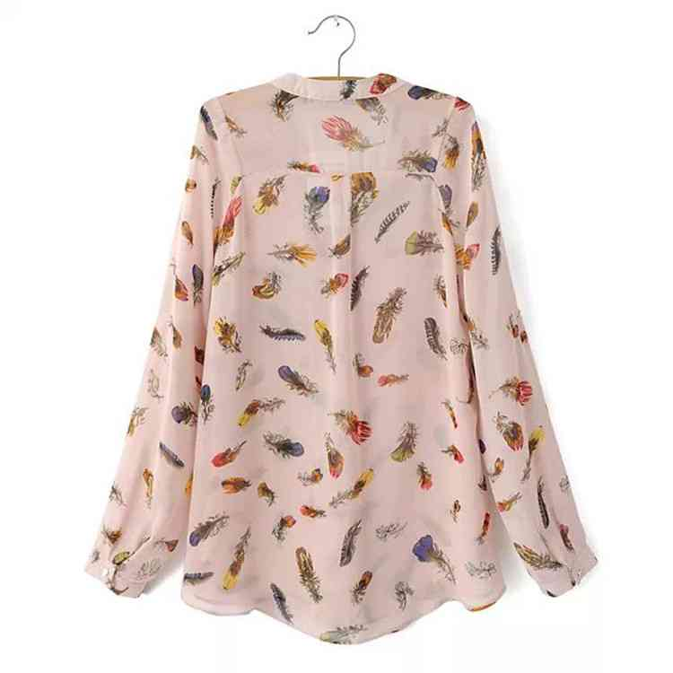 Free Shipping new 2015 spring wind color feather patterned chiffon ...