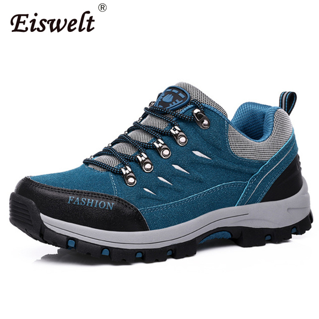 f352fcd2494 US $20.99 40% OFF|EISWELT Outdoor Waterproof Slip Resistant Comfortable Men  Women Hiking Shoes Unisex Sneakers Autumn Winter Laceup Climbing Shoes-in  ...