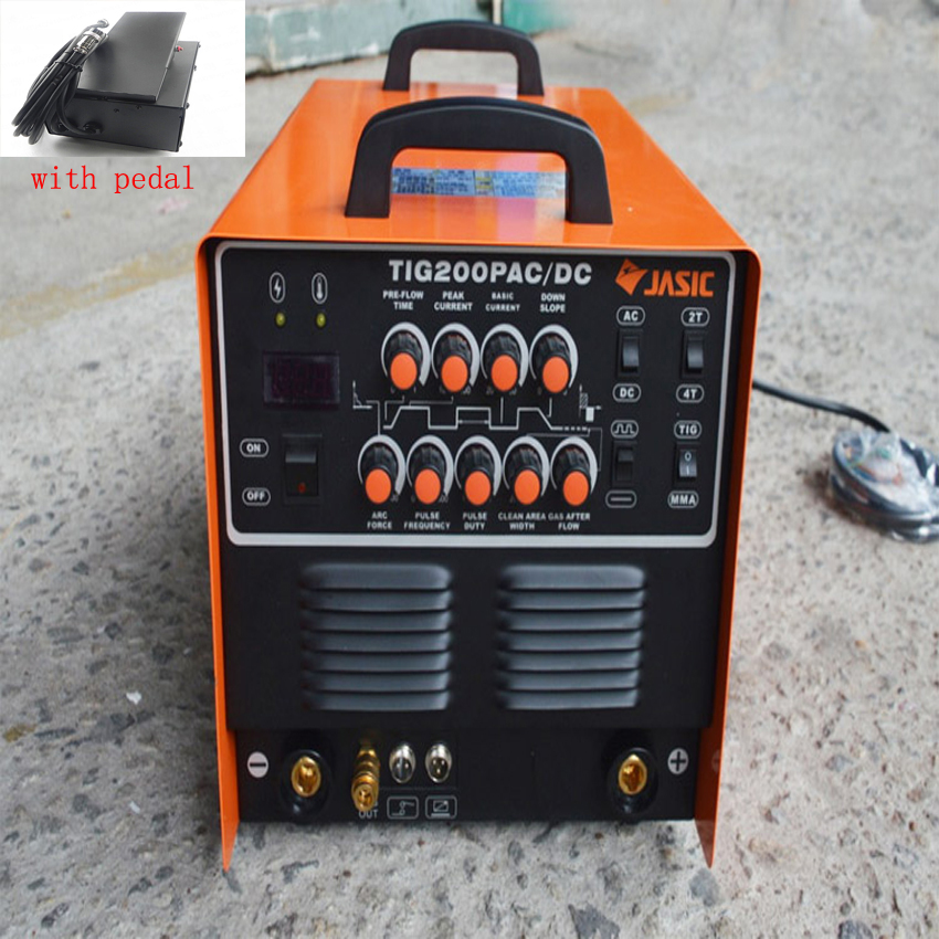 JASIC WSE-200P TIG200P TIG Welding Machine AC/DC TIG/MMA Square Wave Pulse Inverter Welder 220V With Foot Control Pedal jasic hf arc mos inverter dc tig200 tig welding mma welding machine 2 in 1 welder