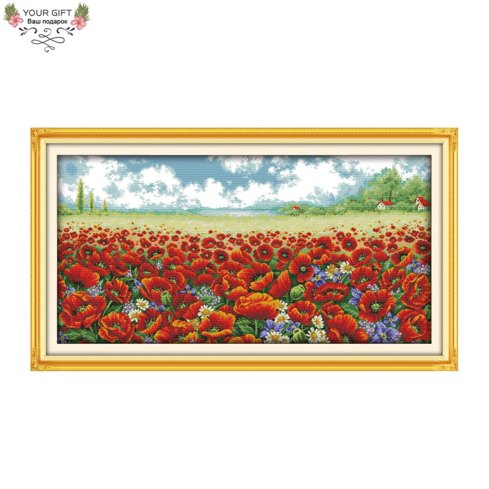 Joy Sunday F775 Free Shipping 14CT 11CT Counted and Stamped Home Decor Poppy Flowers Needlepoints Embroidery Cross Stitch Kits