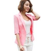 NEW Spring autumn female outerwear Fashion Women Blazer Cotton linen suit Jacket Slim One button Half sleeve Women coat