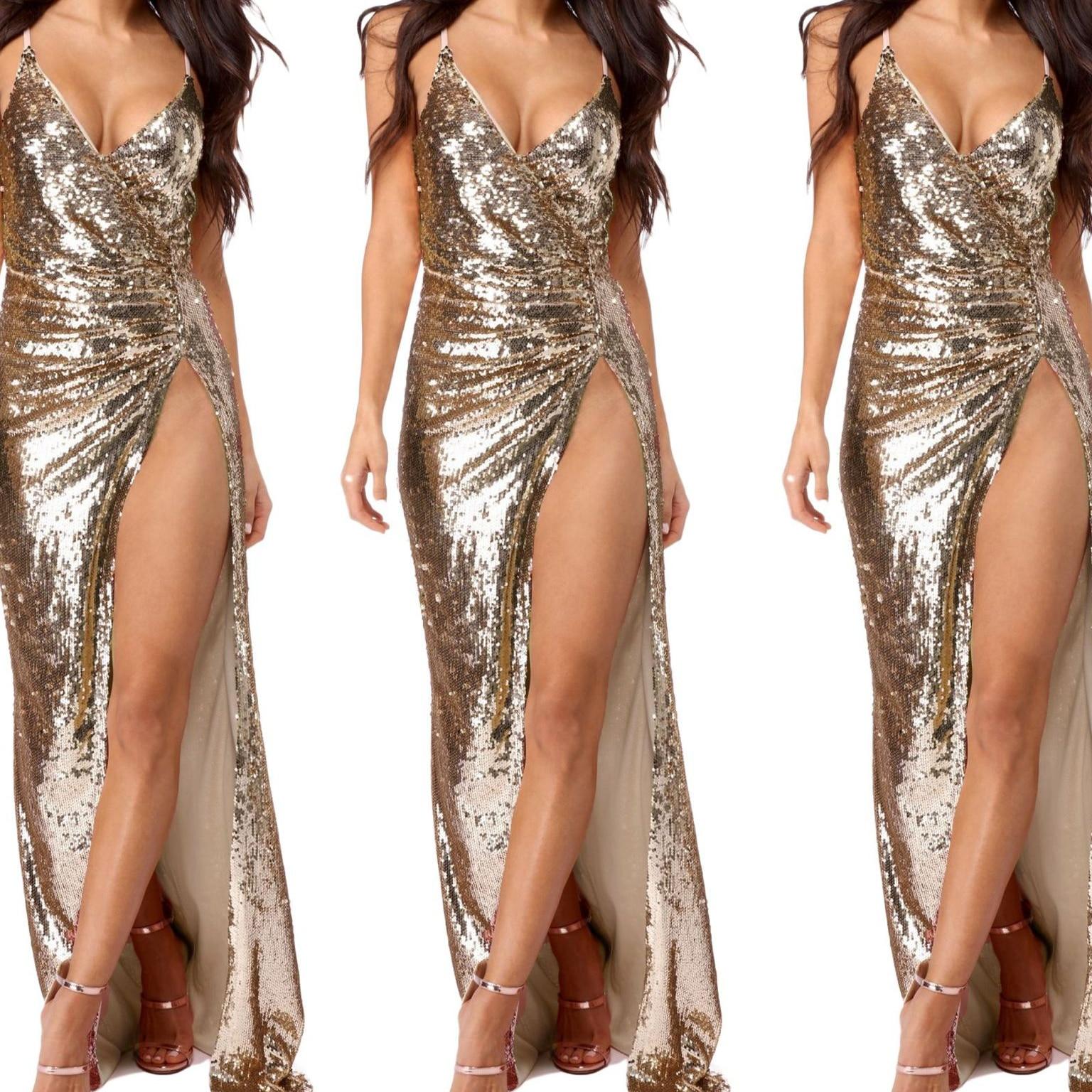 Sequin Maxi Dress Women Sexy High Split Long Dress 2019 Gold Color V Neck Summer Party Dresses Vestidos Femme