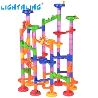 Lightaling 105pcs DIY Construction Marble Run Intellect Tracks Game Maze Balls Toys Puzzle Educational Kids Gift
