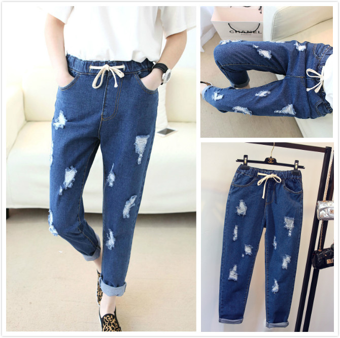 2016. Haren nine hole loose jeans baggy female