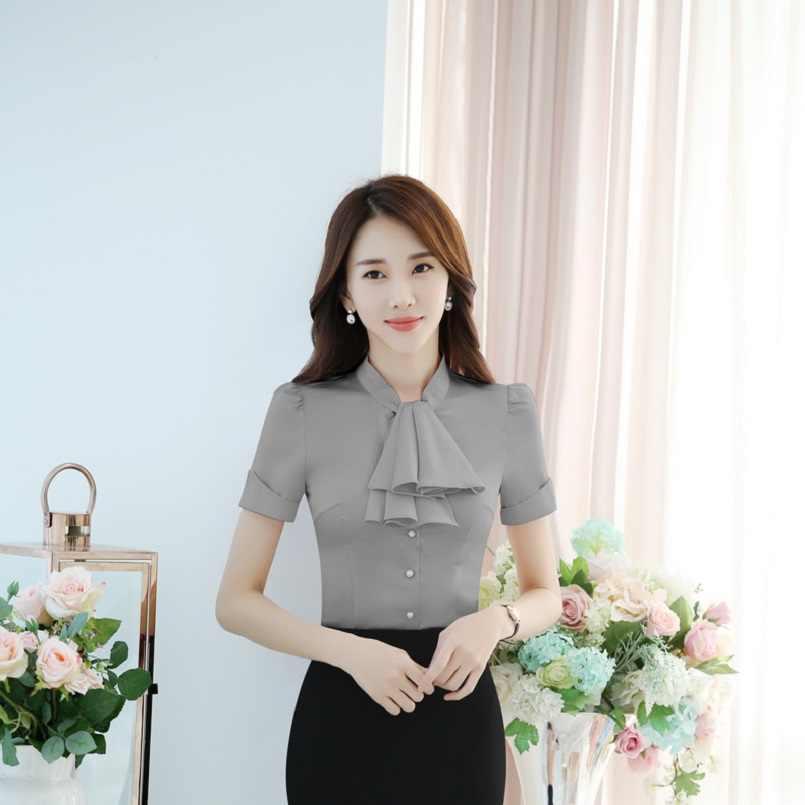 Yeni Moda Şifon Bluz Gömlek Bayanlar için Ofis Iş Elbisesi Güzellik Salonu Bluz Gömlek Yaz Kısa Kollu Zarif Gri