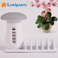 LumiParty Mushroom LED Night Light Desk Lamp With 5 Ports Travel USB Charger Charging Power Stations