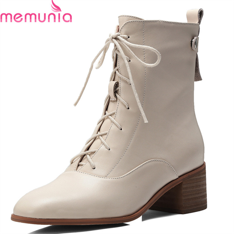 MEMUNIA 2018 hot sale new genuine leather ankle boots for women round toe autumn winter boots zipper lace up high heels shoes MEMUNIA 2018 hot sale new genuine leather ankle boots for women round toe autumn winter boots zipper lace up high heels shoes
