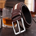 Fashion new men Fabric belts alloy pin buckle stripe Stitching color waistband Men's Outdoor Sports equipment