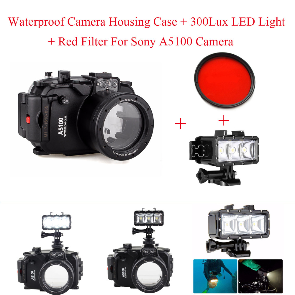 Meikon 40m/130ft Waterproof Camera Housing Case For Sony A5100 16-50mm Lens,Underwater Bags Case + 300Lux LED Light + Red Filter meikon 40m waterproof underwater camera housing case bag for canon 600d t3i