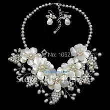 "Natural Mother Of Pearl Shell Freshwater Pearl Flower Necklace/Earrings Set 17"" Fashion Jewellery New Free Shipping FN631"