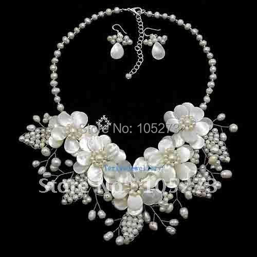 """Natural Mother Of Pearl Shell Freshwater Pearl Flower Necklace/Earrings Set 17"""" Fashion Jewellery New Free Shipping FN631"""
