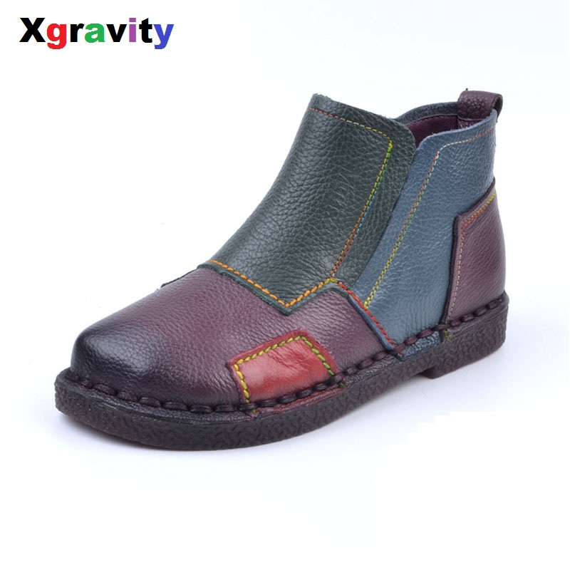 XGRAVITY Autumn Lady Hand-Made Vintage Cow Genuine Leather Ankle Boots Fashion ladies Casual Round Toe Soft Woman Shoes  S032 front lace up casual ankle boots autumn vintage brown new booties flat genuine leather suede shoes round toe fall female fashion