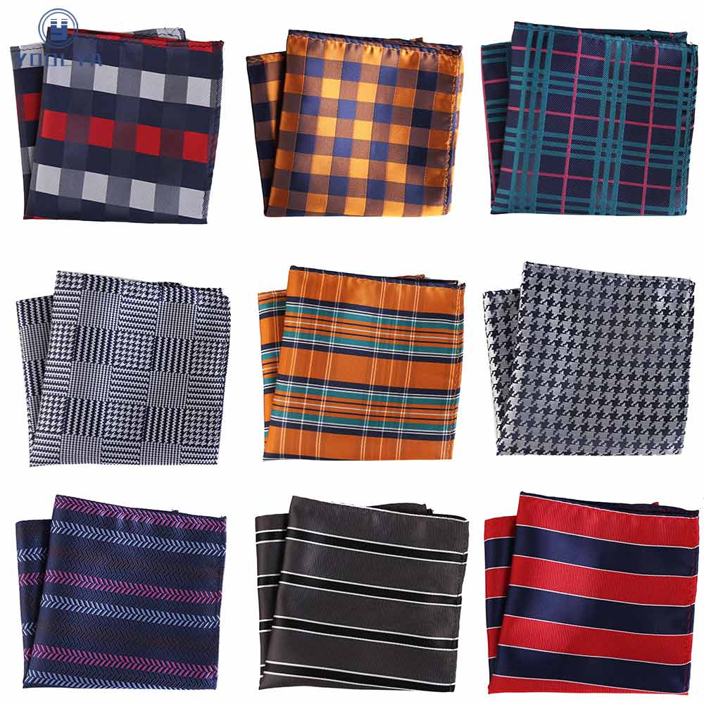 Stripes Plaid Men Silk Pocket Square Hanky Jacquard Woven Classic Wedding Party Handkerchief Vintage Hankies Chest Towel