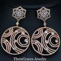 Nigeriano mulheres new design rose banhado a ouro micro pave cz criado diamante grande rodada dangle gota brincos do traje jóias er256