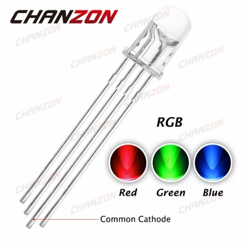 100pcs 5mm RGB LED Common Cathode 4pin Red Green Blue LED Round Tricolor 20mA LED Light Emitting Diode 5 mm Transparent Lamp