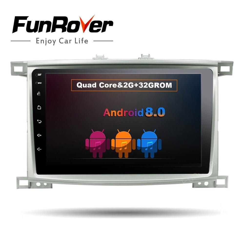 Funrover Android 8.0 10.1 2din Lecteur DVD de Voiture pour Toyota LC 100 Land Cruiser 100 1998-2006 BT WIFI GPS Navigation Stéréo Système