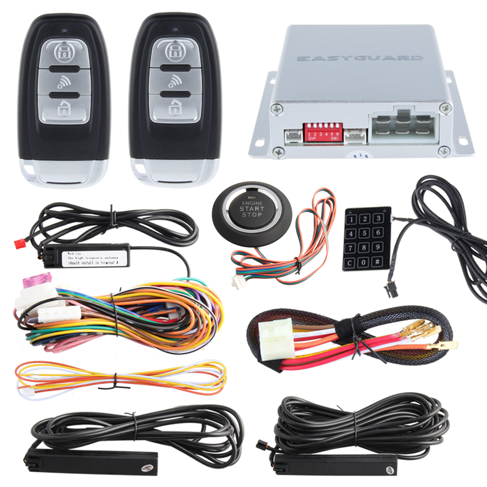 Top Smart Key car alarm kit PKE psssive keyless entry with remote engine start & push button start, touch password entry backup easyguard pke car alarm system remote engine start stop shock sensor push button start stop window rise up automatically