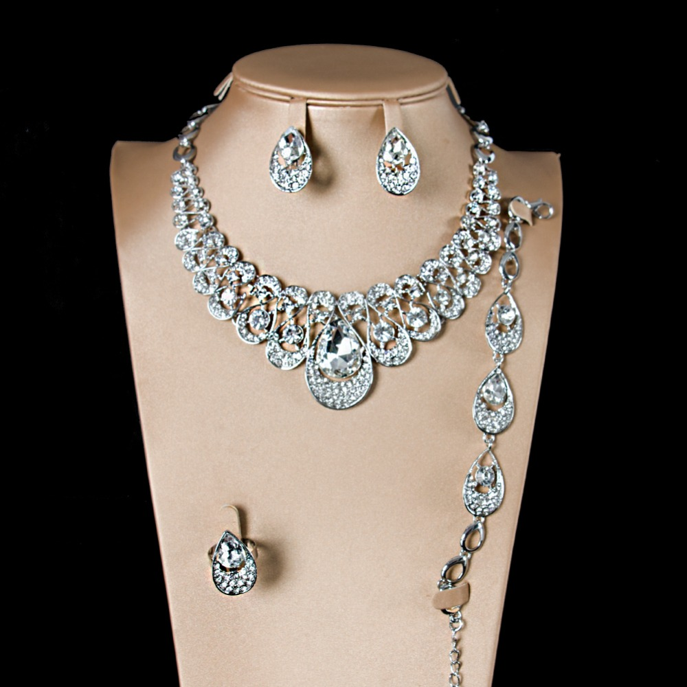 LAN PALACE new glass bridal colorfast gold color ladies jewellery set earrings necklace ring bracelet free shipping