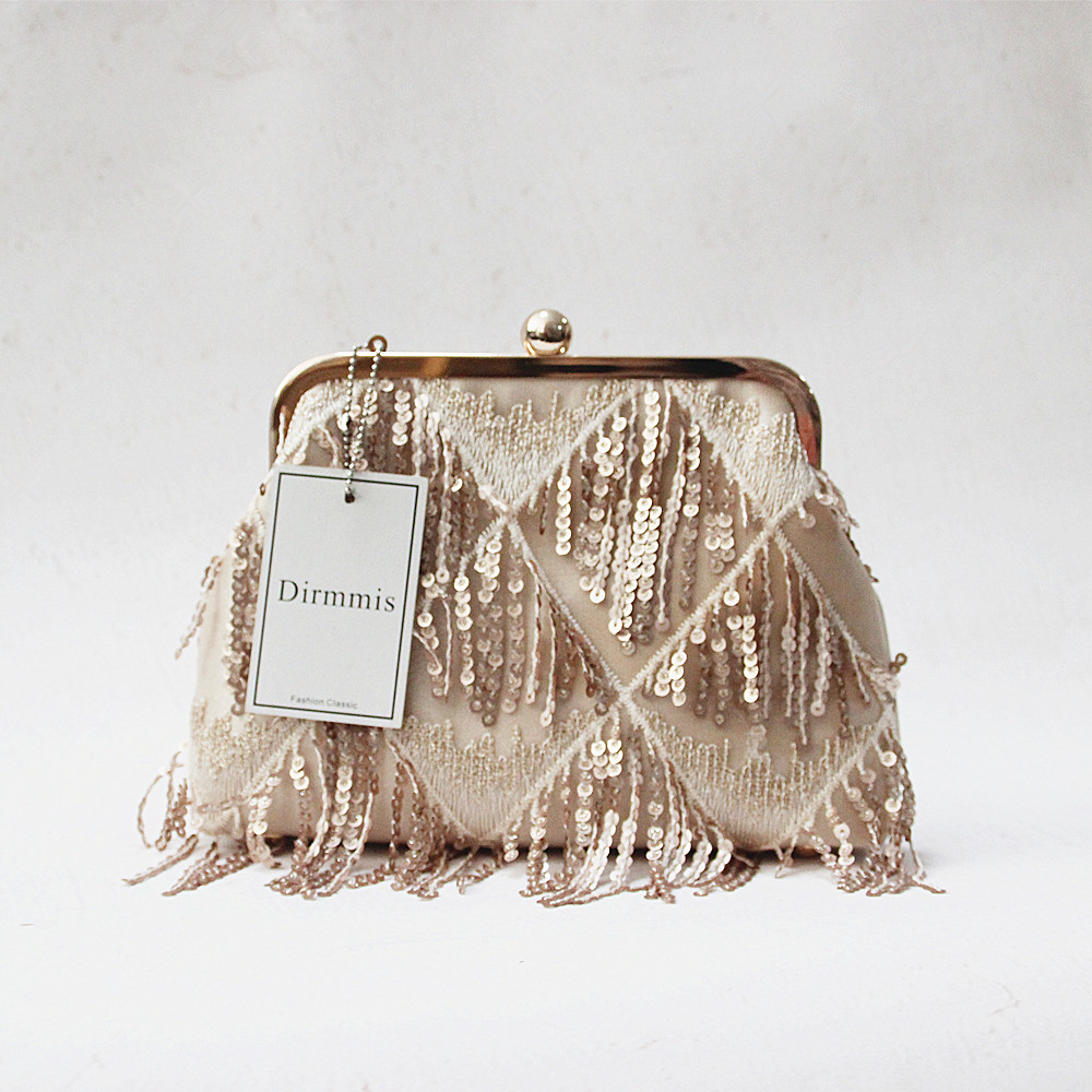 Woman New Wallet 2018 Brand Fashion Solid Tassel Sequin Gold Clip Handbag  Vintage Pearl Stylish EveningBag Wedding Casual Clutch dcc760367e48