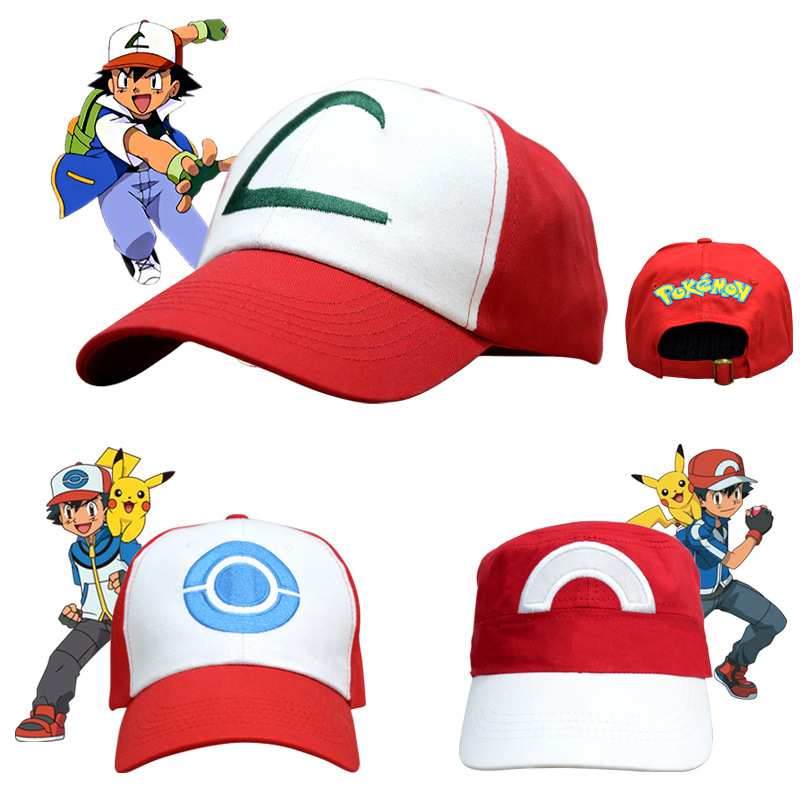 Free Shipping Hot Sale Anime Pocket Monster Cosplay Costume Ash Ketchum Cosplay Hat Summer Style Red Peaked Cap And Sunbonnet