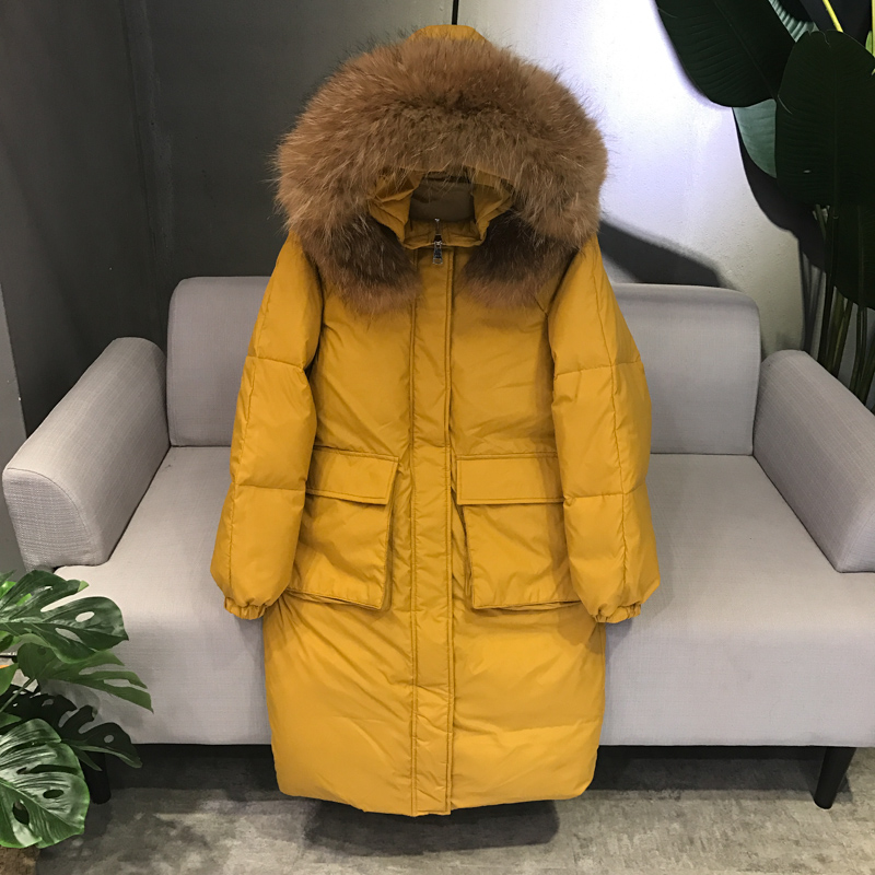 Down     Coat   Female Winter Jacket Women 2018 White Duck   Down   Jackets With 100% Large Real Raccoon Fur Collar Hooded Thicken Parkas
