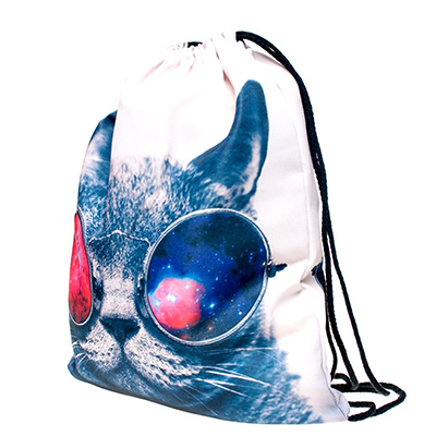 Storage Bag 3D Cat Printed Fashion New Women Drawstring 30*39cm/11.8*15.4'' 1PCS/Lot 3
