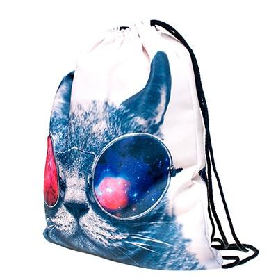 Storage Bag 3D Cat Printed Fashion New Women Drawstring 30*39cm/11.8*15.4'' 1PCS/Lot 3