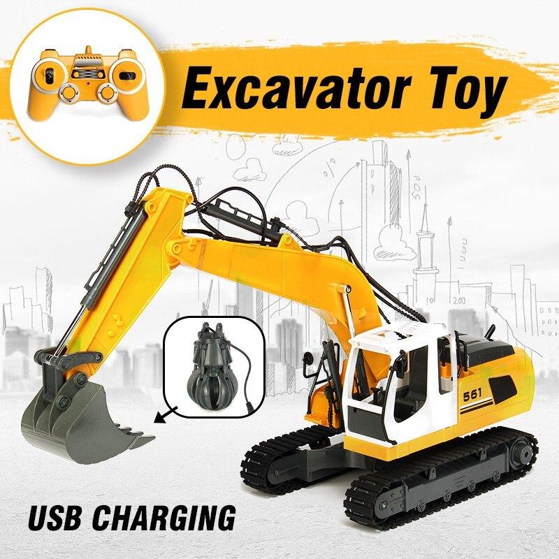 Enfants RC pelle 17 canaux 2.4G télécommande Construction camion pelle sur chenilles tracteur modèle ingénierie véhicule jouet