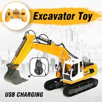 Kids RC Excavator 17 Channel 2.4G Remote Control Construction Truck Crawler Digger Tractor Model Engineering Vehicle Toy