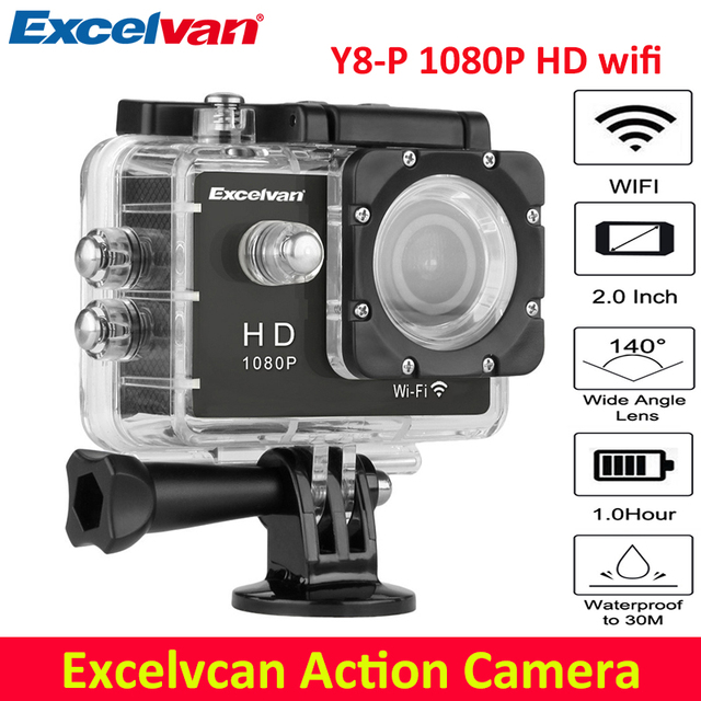 Excelvan Action Camera 2.0 Inch WiFi 1080P Full HD 30M Waterproof H264 12Mp Video Action DV Sports Action Camera