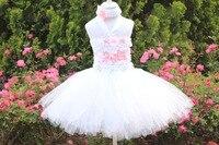 Hurtownie biały tutu sukienka 2 warstwy fluffy rocznika kwiat wieczór tutu sukienka z dopasowane z pałąkiem na głowę