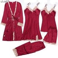 Satin Sleepwear Female with Chest Pads Sexy Women Pajamas Lace Silk Sleep Lounge 5 Pieces Sets Ladies Indoor Clothing pajamas