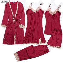 Satin Sleepwear Female with Chest Pads Sexy Women Pajamas Lace Silk Sleep