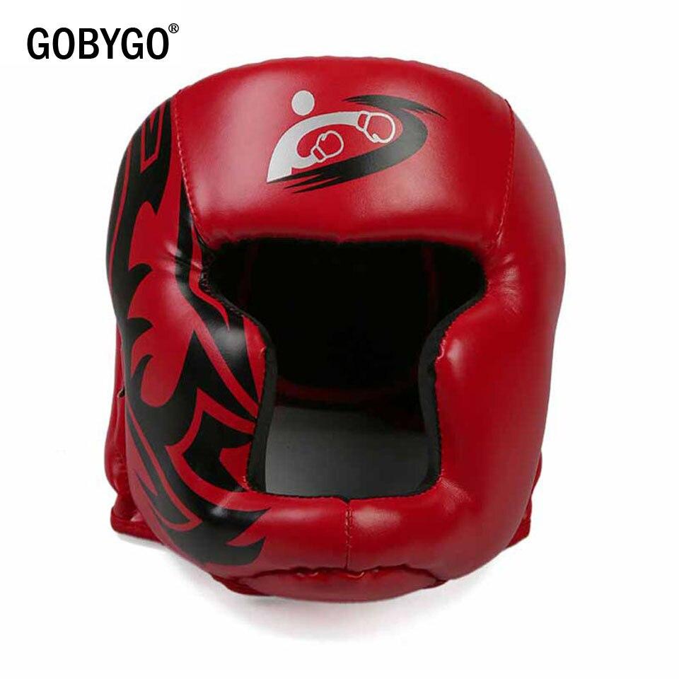 GOBYGO Kids/Youth/взрослые женщины мужчины боксерские шлемы MMA Muay Thai Sanda каратэ тхэквондо защита головы снаряжение Красный Черный